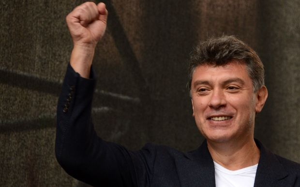 Former first deputy prime minister of Russia, Boris Nemtsov, gesturing during an anti-Putin protest in central in Moscow.