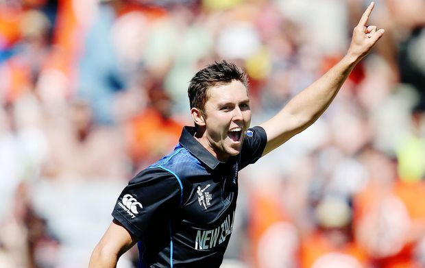 Trent Boult celebrates the wicket of Michael Clarke.