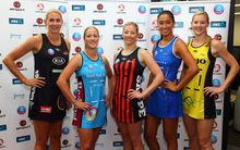 The five captains of the New Zealand ANZ Championship franchises at the season launch