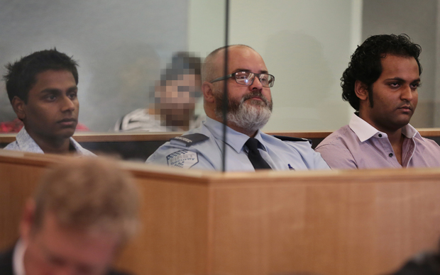 Shivneel Kumar (left) and Bryne Permal (far right) in Auckland High Court.