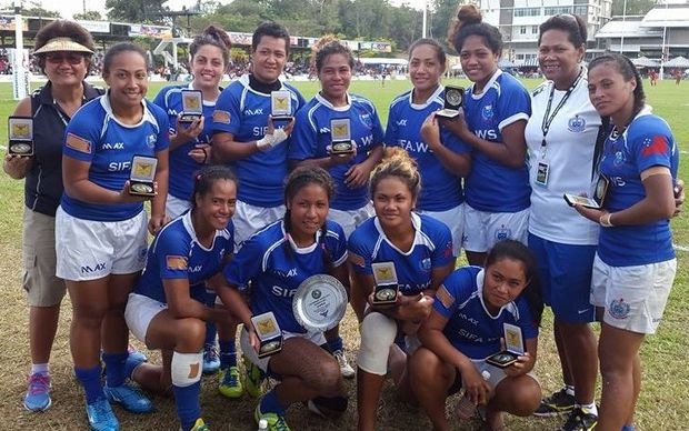 The Manusina celebrate winning the Plate title at the Borneo Sevens in Indonesia.