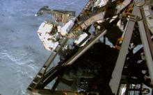 A NASA video image of Terry Virts working during a spacewalk on 1 March.
