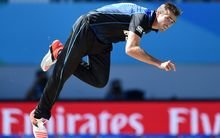 The Black Caps bowler Tim Southee bowling during the Cricket World Cup match between New Zealand and Australia at Eden Park.