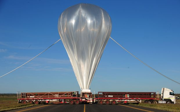 A giant NASA science balloon being inflated at the launch site near Alice Springs in 2010.