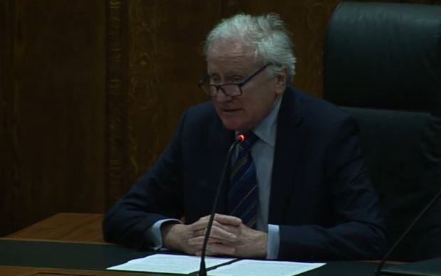 A screenshot from the livestream of the Privy Council's decision, showing Lord Kerr.