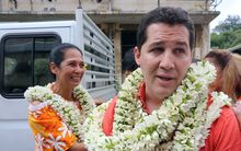Teura Iriti and Vincent Dubois of French Polynesia's ruling Tahoeraa Huiraatira Party