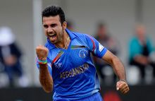 Afghanistan's Dawlat Zadran celebrates his wicket of Sri Lanka's Lahiru Thrimanne.