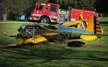 The small plane owned by US actor Harrison Ford is seen after crashing at the Penmar Golf Course in Venice, California.