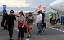 Helen and Michael Chan, the family of Bali Nine Andrew Chan arrive in Yogyakarta, Indonesia.