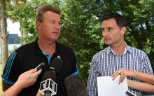 Sir John Kirwan and Michael Redman front media before the 2015 Super Rugby season