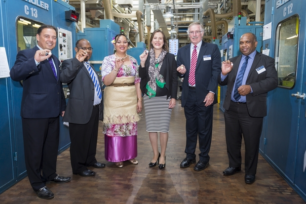Official coining ceremony at the Royal Australian Mint between Tonga, Cook Islands and Vanuatu.