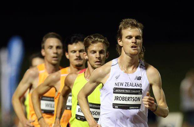 Jake Robertson competing in the Men's 5000m.