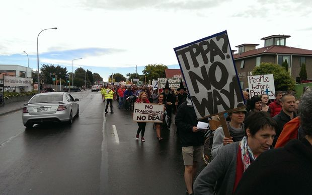 Protesters on Riccarton Road, Christchurch