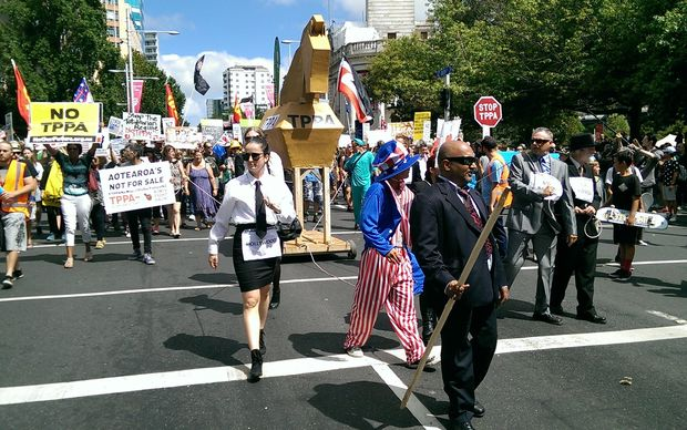 Anti-TPP marchers in Wellington.