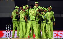 Pakistan celebrate at Eden Park, World Cup, 2015.
