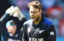 Spinner Daniel Vettori takes a wicket for New Zealand.