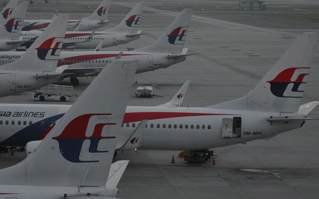 Malaysia Airlines planes at Kuala Lumpur International Airport on the day of the first anniversary of the disappearance of flight MH370.