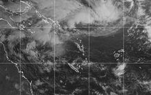 Satellite image of depression east of Vanuatu