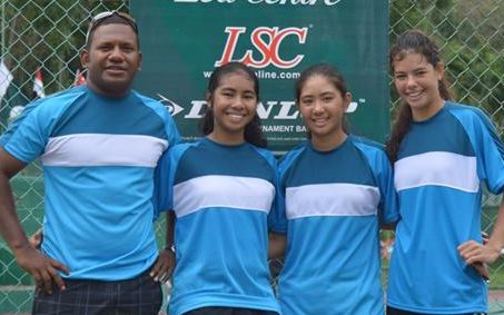 The Pacific Oceania Junior Fed Cup team: captain Andrew Mailtorok, Mulan Kamoe from Fiji, Ayana Rengiil from Palau and Tammy Ackerman from the Northern Mariana Islands.