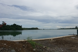 The over-full tailings dam facility at the Gold Ridge Gold Mine on Guadalcanal in Solomon Islands. January 2015