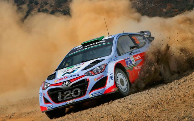 Haydon Paddon competing at the Mexico round of the WRC.