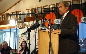 Winston Peters speaking to a crowd of people at Kaikohe RSA.