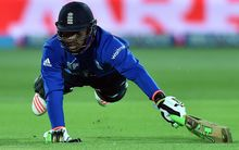 England batsman Chris Jordan is run-out.