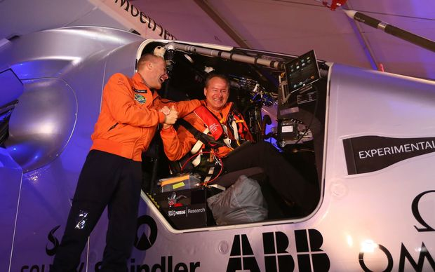Bertrand Piccard (left) with Andre Borschberg who piloted Solar Impulse 2 on the first leg of the journey.