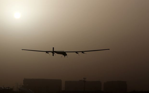 Solar Impulse 2 takes off from al-Bateen airport in Abu Dhabi on Monday.