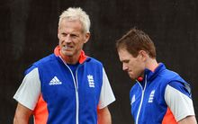 England coach Peter Moores (left) and team captain Eoin Morgan (R) in Christchurch.