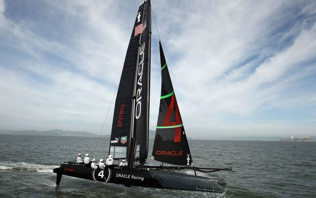 An Oracle AC45 skippered by James Spithill practices in the San Francisco Bay on 21 February 2012.
