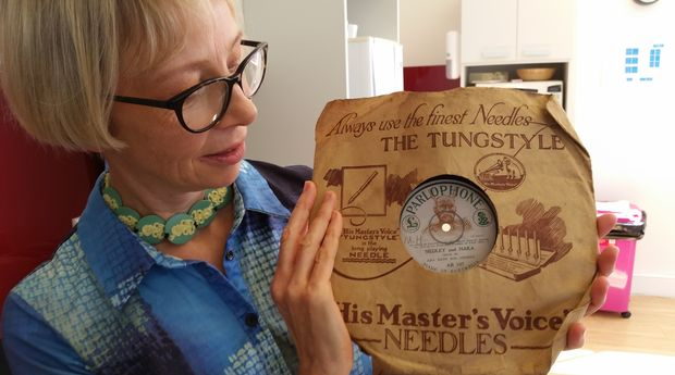 Patricia Thompson with the 1927 recording.