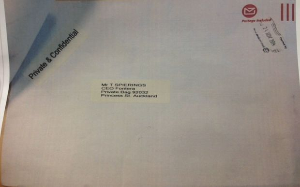 The envelope sent to Fonterra containing the blackmail threat.