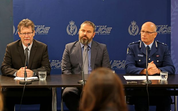 Left to right - Ministry of Health's Pat Tuohy, Deputy Director-General Ministry for Primary Industries Scott Gallacher, and Police Deputy Commissioner Mike Clement.