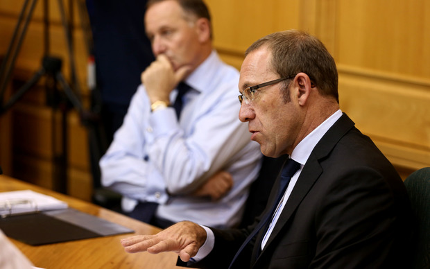 Leader of the Labour Party Andrew Little (right) and Prime Minister John Key.
