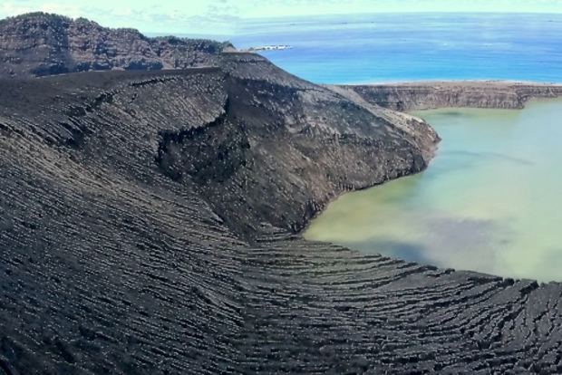 A crater lake on Tonga's newest island.