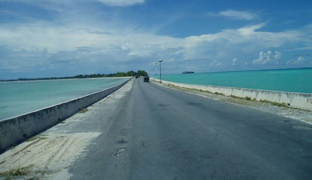 Causeway connecting Bairiki and Betio in Tarawa, Kiribati