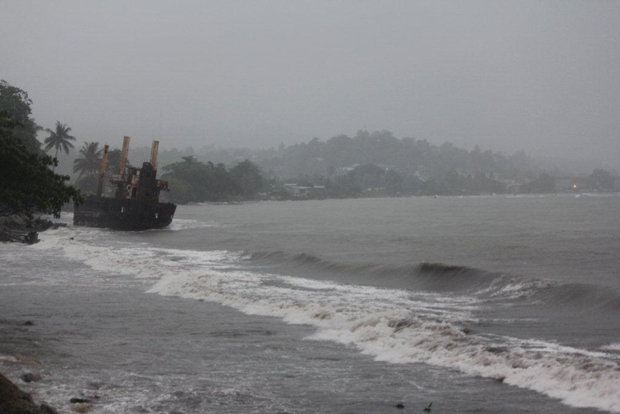 Continuous heavy rains fall in Solomon Islands caused by Cyclone Pam in the country's east heading South East and away to Vanuatu.