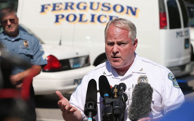 Police Chief Thomas Jackson fields questions related to the shooting death of teenager Michael Brown on August 13, 2014 in Ferguson, Missouri.