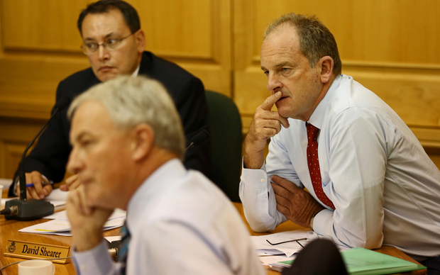 Phil Goff and David Shearer at the parliamentary select committee.