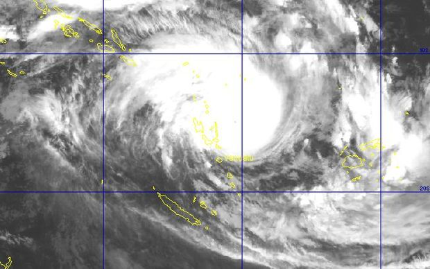 A Satellite image of Tropical Cyclone Pam as it approaches Vanuatu