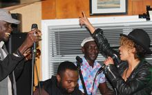Flavia Coelho joins in a jam session with members of Jupiter & Okwess International and Youssou N'Dour's band.
