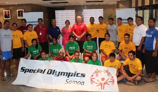 Athletes and sponsors at the naming of Samoa's squad for the 2015 Special Olympics World Games.