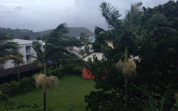 Grey clouds as Cyclone Pam approaches Vanuatu