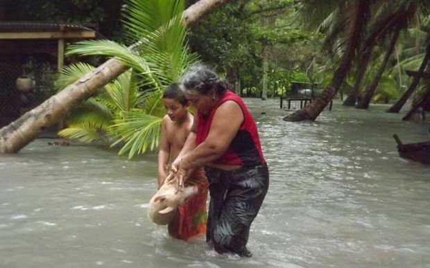Flooding in Tuvalu after Cyclone Pam.