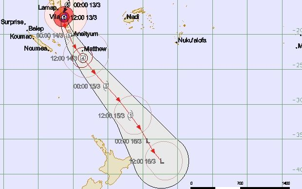 A tracking map of Cyclone Pam issued by RSMC Nadi on 14 March