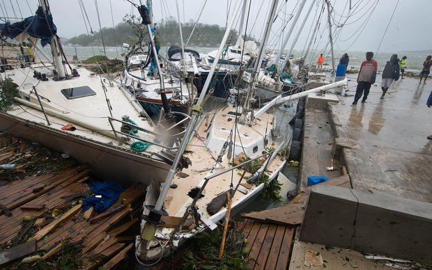 Yachts at Port Vila were tossed about in the cyclone.