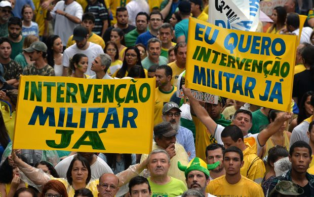 Tens of thousands of demonstrators rally to protest against the government of president Dilma Rousseff in Paulista Avenue in Sao Paulo Brazil on 15 March 2015.