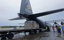 RNZAF Hercules C-130 loads aid relief bound for Vanuatu.