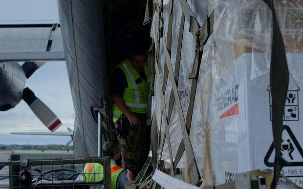 Aid relief on a RNZAF Hercules C-130 bound for Vanuatu.